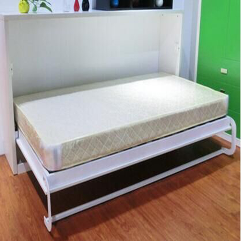 Horizontal white wall folding bed