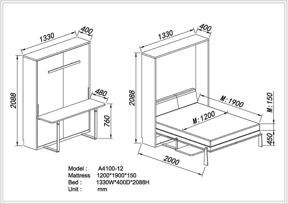 Wholesale smart furniture murphy bed with desksmart furniture measurements ccuart Gallery