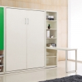 White folding pull down vertical Murphy wall bed with folding desk