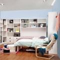 Vertical foldable Murphy bed with desk for bedroom