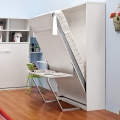 Vertical comfortable white Murphy bed with desk for adults