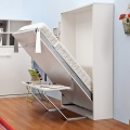 Vertical folding wall Murphy bed with desk for small room