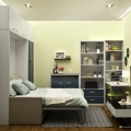 Stylish transforming furniture queen size murphy bed with sofa