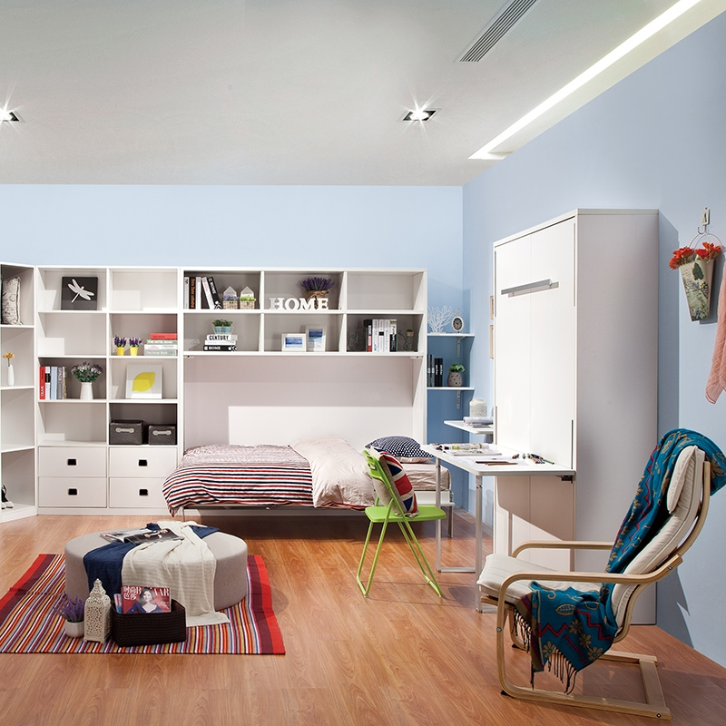 White Horizontal Wall Bed With Bookcases Tallwallbed Com