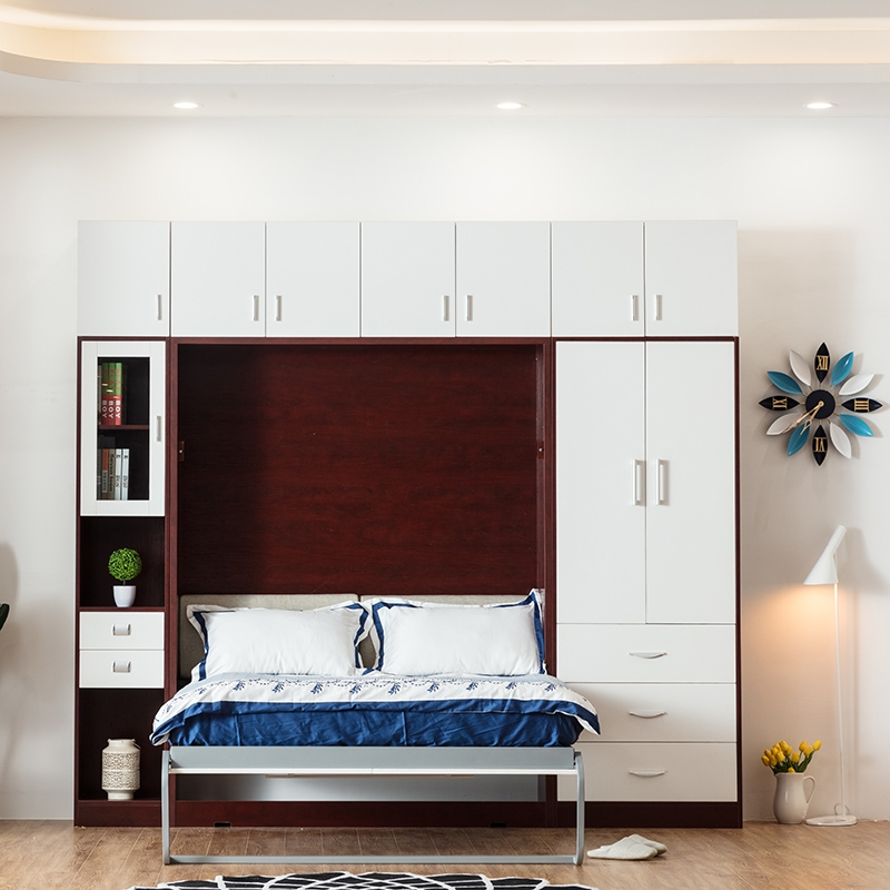 E Saving Furniture Foldable Wall Bed Murphy With Desk And Top Cabinet