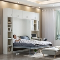 Hot sale green bed room smart furniture double size murphy bed with wood sofa