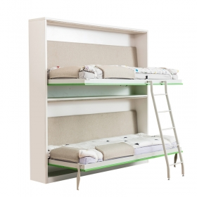 School bedroom furniture hidden saving space wall mounted folding wooden bunk bed for children
