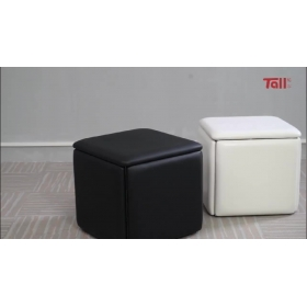 In Stock New Arrival Innovative Design Saving Space Cube Leather Ottoman Stool