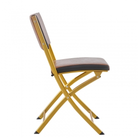 Comfortable metal upholstered PU leather folding training room chair