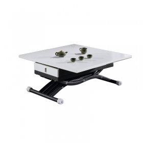 Modern multifunction Adjustable lifting height white coffee table dining table